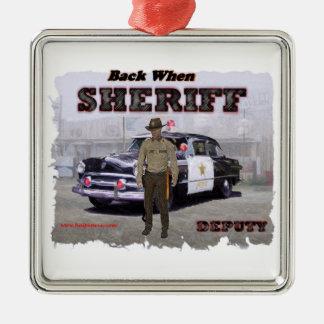 Sheriff_Deputy_1951 Silver-Colored Square Decoration