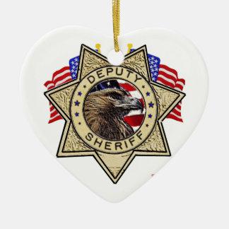 Sheriff Deputy Badge Ceramic Heart Decoration
