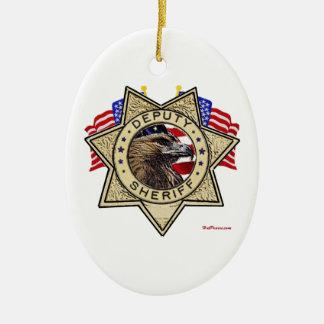 Sheriff Deputy Badge Ceramic Oval Decoration