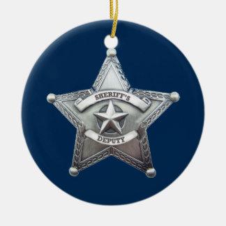 Sheriff Deputy Badge Round Ceramic Decoration