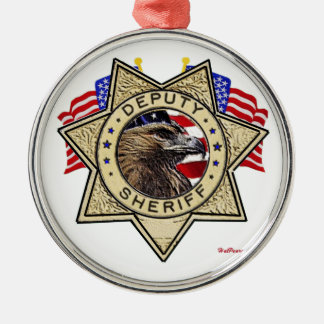 Sheriff Deputy Badge Silver-Colored Round Decoration