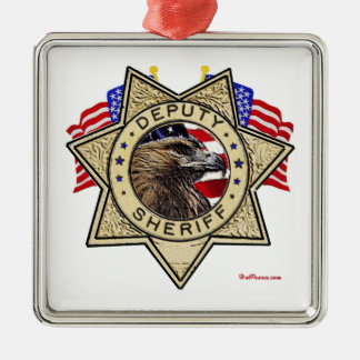 Sheriff Deputy Badge Silver-Colored Square Decoration