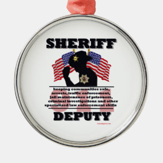 Sheriff_Deputy Silver-Colored Round Decoration