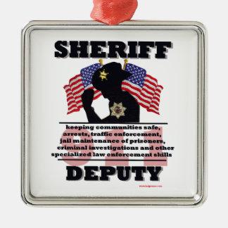 Sheriff_Deputy Silver-Colored Square Decoration