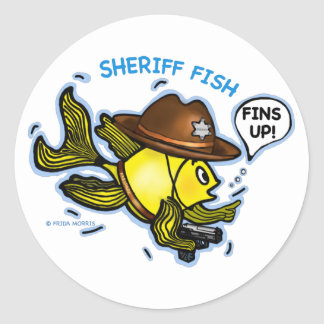 SHERIFF FISH - funny cute Sparky Cartoon Classic Round Sticker