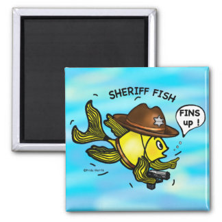 SHERIFF FISH - funny cute Sparky Cartoon Magnet