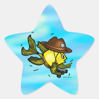 SHERIFF FISH - funny cute Sparky Cartoon Star Sticker