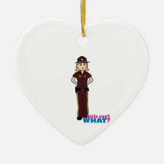 Sheriff Girl Ceramic Heart Decoration