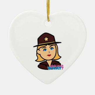Sheriff Head - Light/Blonde Ceramic Heart Decoration