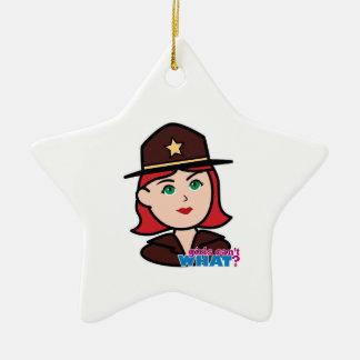 Sheriff Head - Light/Red Ceramic Star Decoration