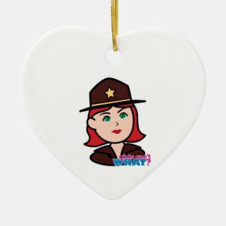 Sheriff Head - Light/Red Christmas Tree Ornaments