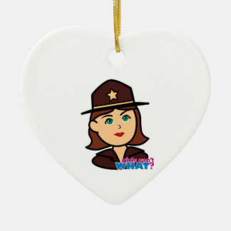 Sheriff Head - Medium Ceramic Heart Decoration