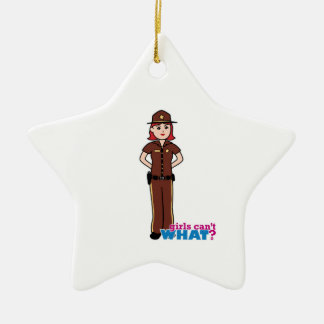 Sheriff - Light/Red Ceramic Star Decoration