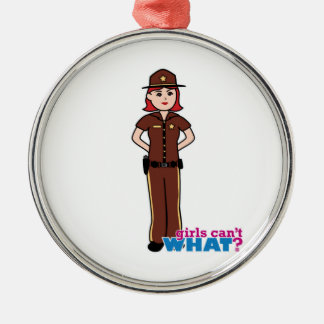 Sheriff - Light/Red Silver-Colored Round Decoration