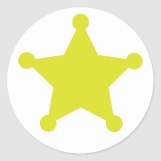 Sheriff Star Gold Round Sticker
