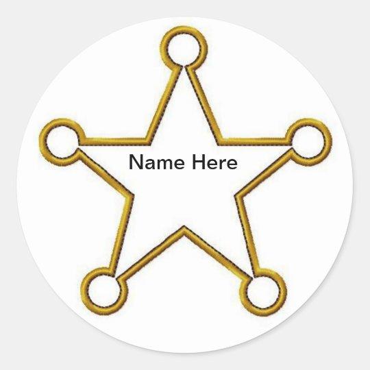 Sheriff Star Name badge Classic Round Sticker