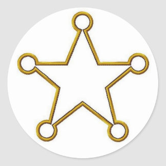 Sheriff Star Name badge Round Sticker