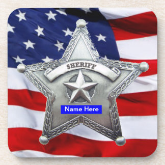 Sheriff Thin Blue Line Badge Beverage Coaster