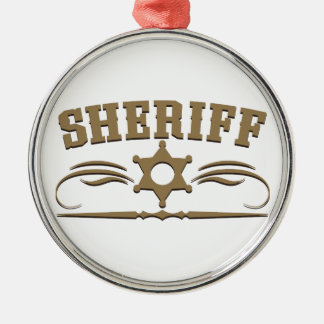 Sheriff Western Style Silver-Colored Round Decoration