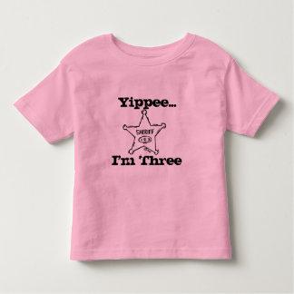 sheriffbadge, Yippee..., I'm Three Toddler T-Shirt