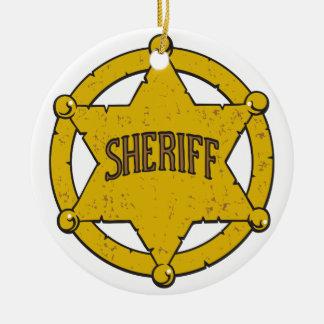 Sheriffs Star Badge Round Ceramic Decoration