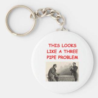 SHERLOCK holmes gifts t-shirts Basic Round Button Key Ring
