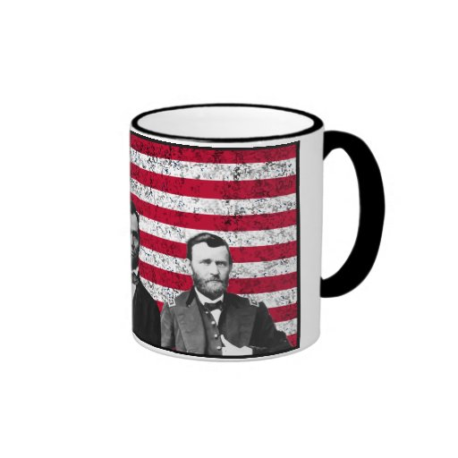 Sherman, Lincoln, and Grant with Black Border Coffee Mugs