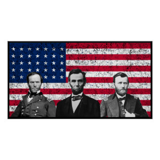 Sherman, Lincoln, and Grant with Black Border Poster