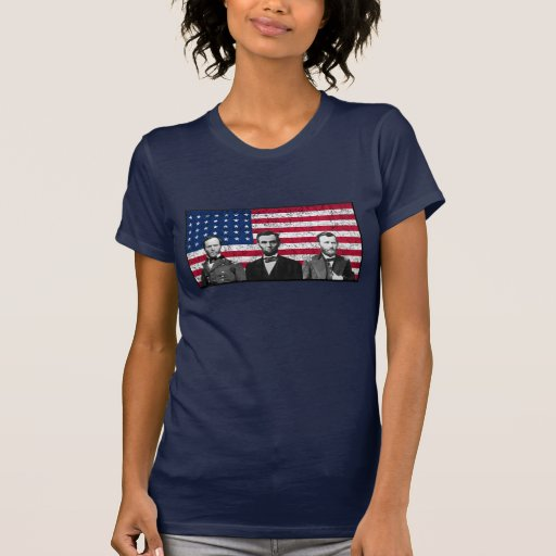 Sherman, Lincoln, and Grant with Black Border T-shirts