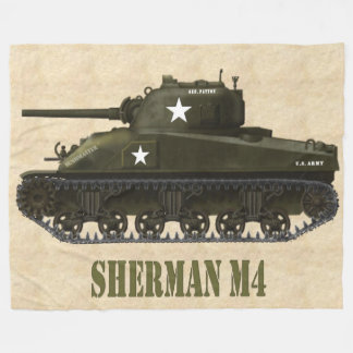 SHERMAN M4 AMERICAN WWII BATTLE  TANK FLEECE BLANKET