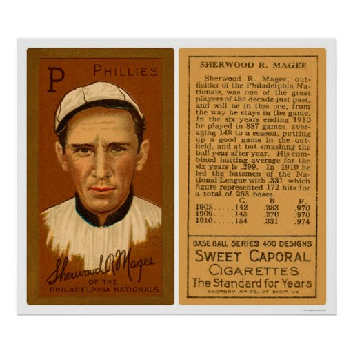 Sherry Magee Phillies Baseball 1911 Posters