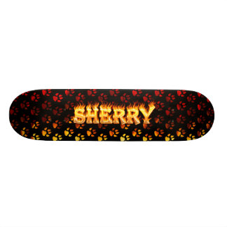 Sherry skateboard fire and flames design.