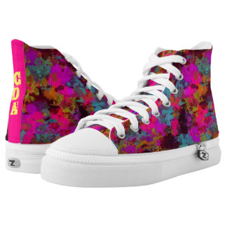 She's A Mess Monogram Paint Splatter Zip Shoes