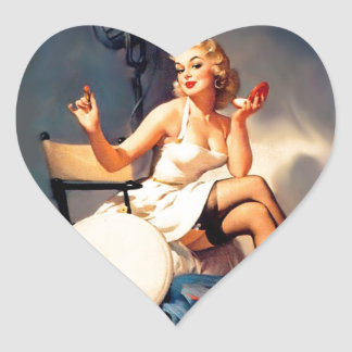 She's a Starlet Pin Up Girl Heart Sticker