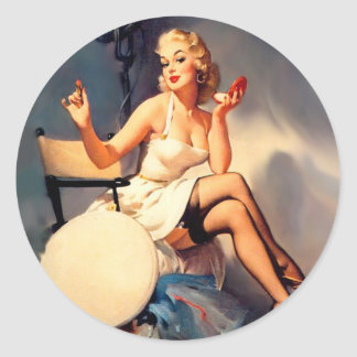 She's a Starlet Pin Up Girl Round Sticker