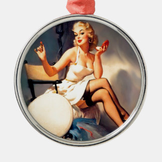 She's a Starlet Pin Up Girl Silver-Colored Round Decoration