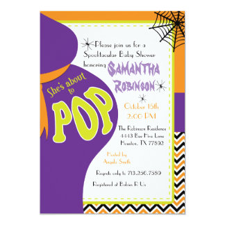 She's About to POP Baby Shower Halloween Invite