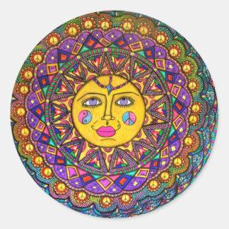 She's Called Sunshine, Sticker, Hippie Art Round Sticker