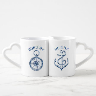 She's My Compass, He's My Anchor Coffee Mug Set