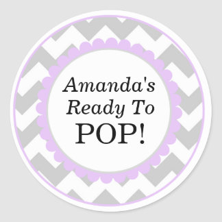 She's Ready to Pop, Chevron Print Baby Shower Classic Round Sticker