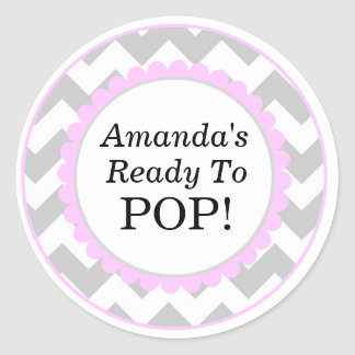 She's Ready to Pop, Chevron Print Baby Shower Round Sticker