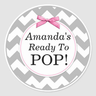 She's Ready to Pop, Gray Chevron, Pink Baby Shower Round Sticker