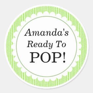 She's Ready to Pop, Green Stripes Baby Shower Round Sticker
