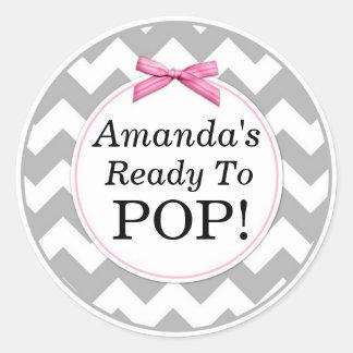 She's Ready to Pop, Grey Chevron, Pink Baby Shower Classic Round Sticker