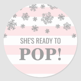 She's Ready to Pop Pink Stripes Silver Snowflakes Classic Round Sticker