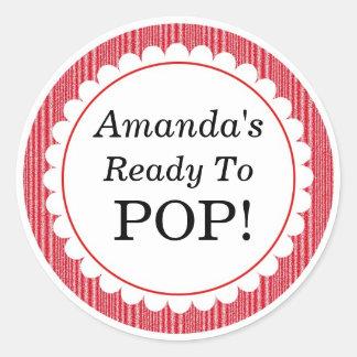 She's Ready to Pop, Red Stripes Baby Shower Round Sticker