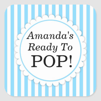 She's Ready to Pop Square sticker - Blue Stripes