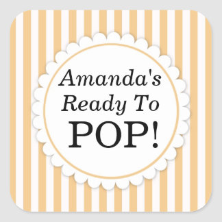 She's Ready to Pop Square sticker - Orange Stripes