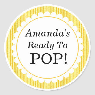 She's Ready to Pop, Yellow Stripes Baby Shower Round Sticker