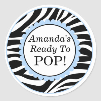 She's Ready to Pop, Zebra Print Baby Shower Classic Round Sticker